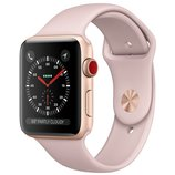 Apple Watch Series 3 42mm GPS+LTE Gold Aluminum Case with Pink Sand Sport Band (MQK32)