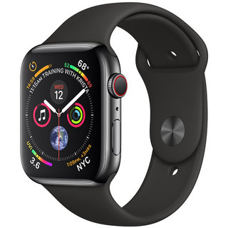 Apple Watch Series 4 44mm GPS+LTE Space Black Stainless Steel Case with Black Sport Band (MTV52, MTX22)