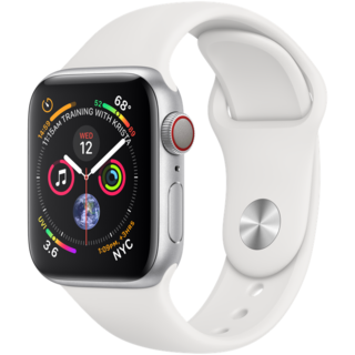 Apple Watch Series 4 40mm GPS+LTE Silver Aluminum Case with White Sport Band (MTVA2)