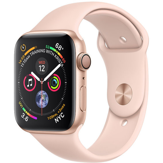 Apple Watch Series 4 44mm GPS Gold Aluminum Case with Pink Sand Sport Band (MU6F2)