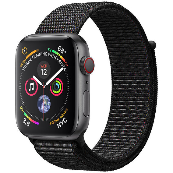 Apple Watch Series 4 44mm GPS+LTE Space Gray Aluminum Case with Black Sport Loop (MTUX2, MTVV2)