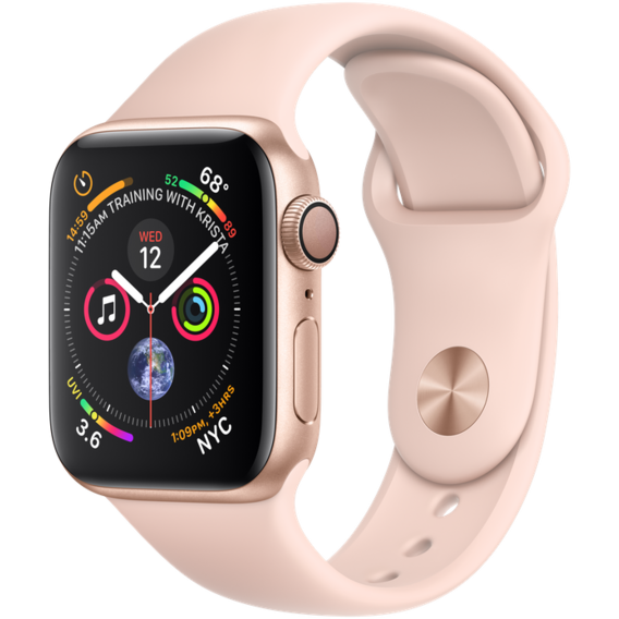 Apple Watch Series 4 40mm GPS Gold Aluminum Case with Pink Sand Sport Band (MU682)