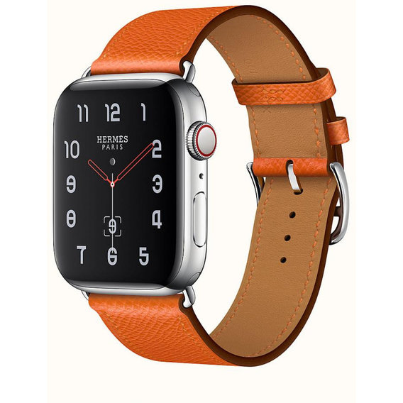 Apple Watch Series 4 Hermes 40mm GPS+LTE Stainless Steel Case with Feu Epsom Leather Single Tour (H077058CJ9J)